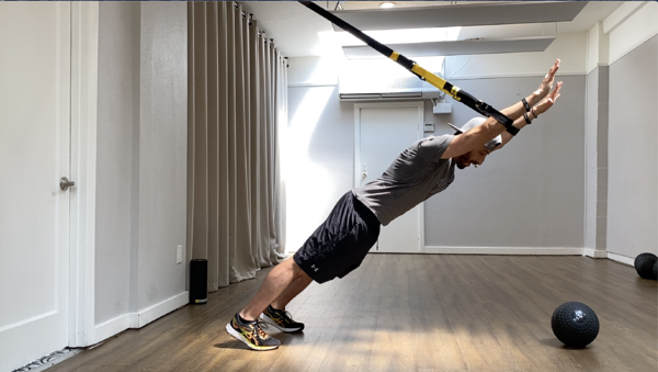 man performing a modified TRX plank on TRX Suspension Trainer, at home