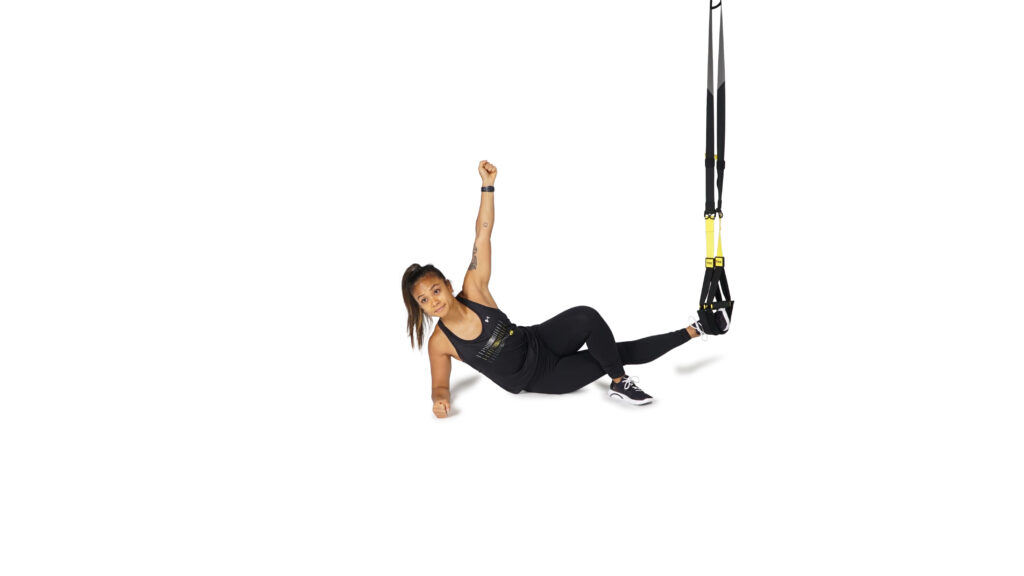 woman doing TRX Single Leg Side Plank