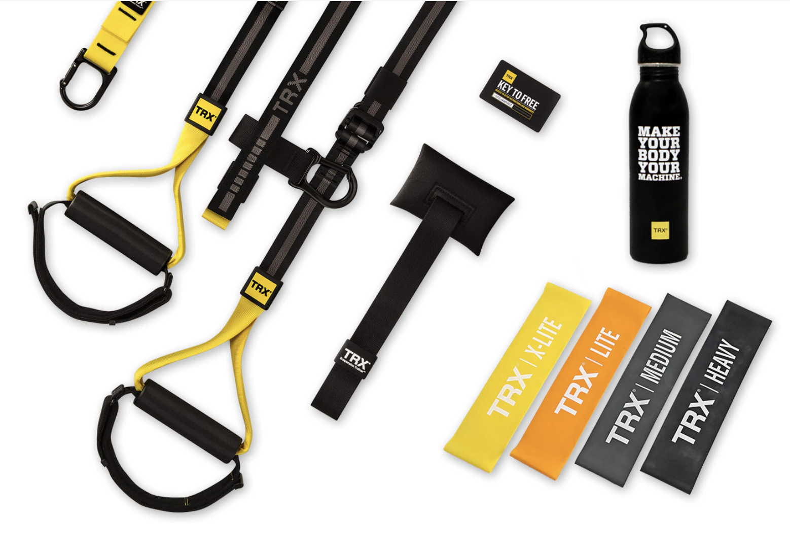 TRX Home2, door anchor, exercise bands, and water bottle