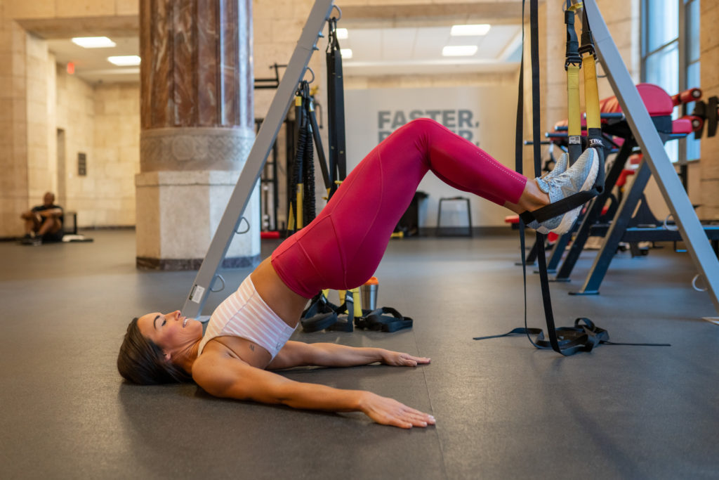 woman in glute bridge