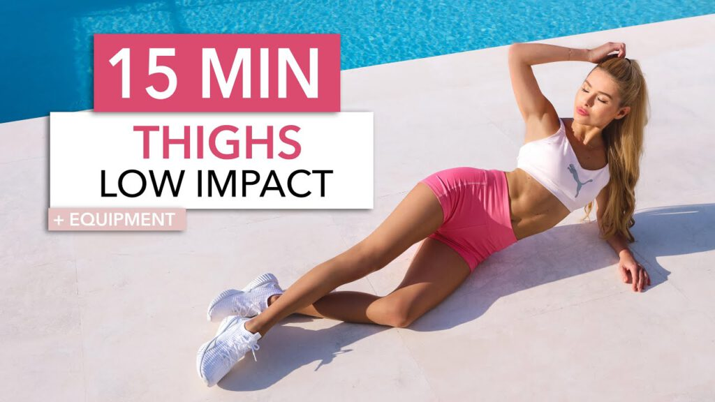 15 MIN THIGH WORKOUT - LOW IMPACT, only on the floor, no squats, knee friendly / Booty Band + Book