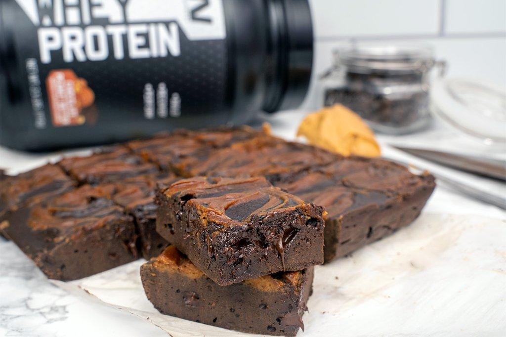 Peanut Butter Swirl Protein Brownies
