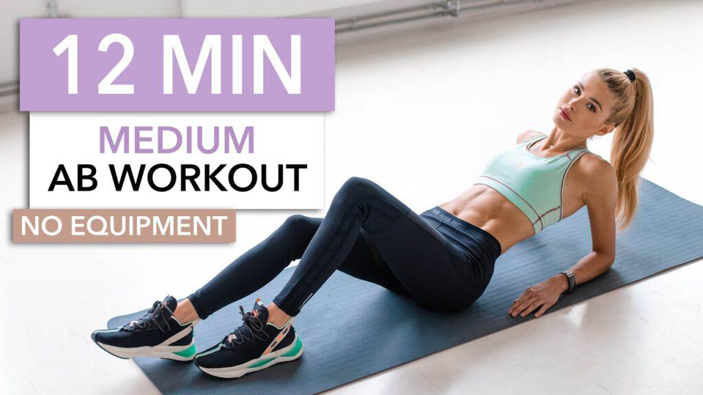 12 MIN AB WORKOUT - Medium Level / No Equipment I Pamela Reif