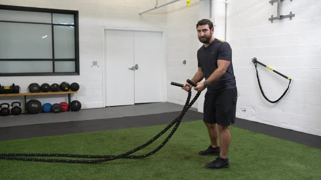 11 A CORE EXERCISE LIBRARY PULL Battle Rope Double Arm Wave